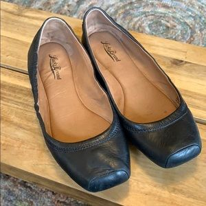 Lucky Brand black leather box toe flats size 10